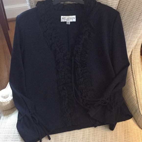 St John Evening Jacket Ruffle~Tie Front & Sleeves